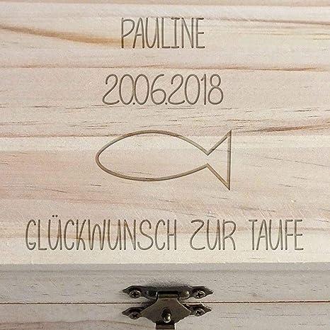 Geschenkede Personalisierbare Schatztruhe Als Geschenk Zur Taufe Mit Gravur Fisch Personalisierte Spardose Aus Holz Als Gastgeschenk Vom Paten Für