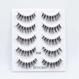 D'Eyeko DE5IRE False Eyelashes 100% Natural Hair - Lengthening Lashes - 5 Pairs