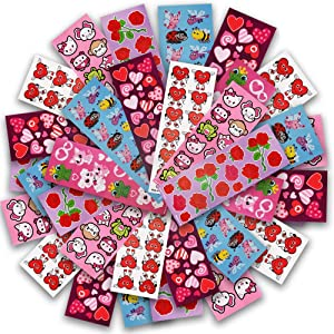 ArtCreativity Valentine's Day Stickers Assortment for Kids, 100 Sheets with Over 1,600 Stickers, Valentine Stickers and Treats, Home-Made Holiday Cards Supplies, Party Favors for Boys, Girls, Toddlers