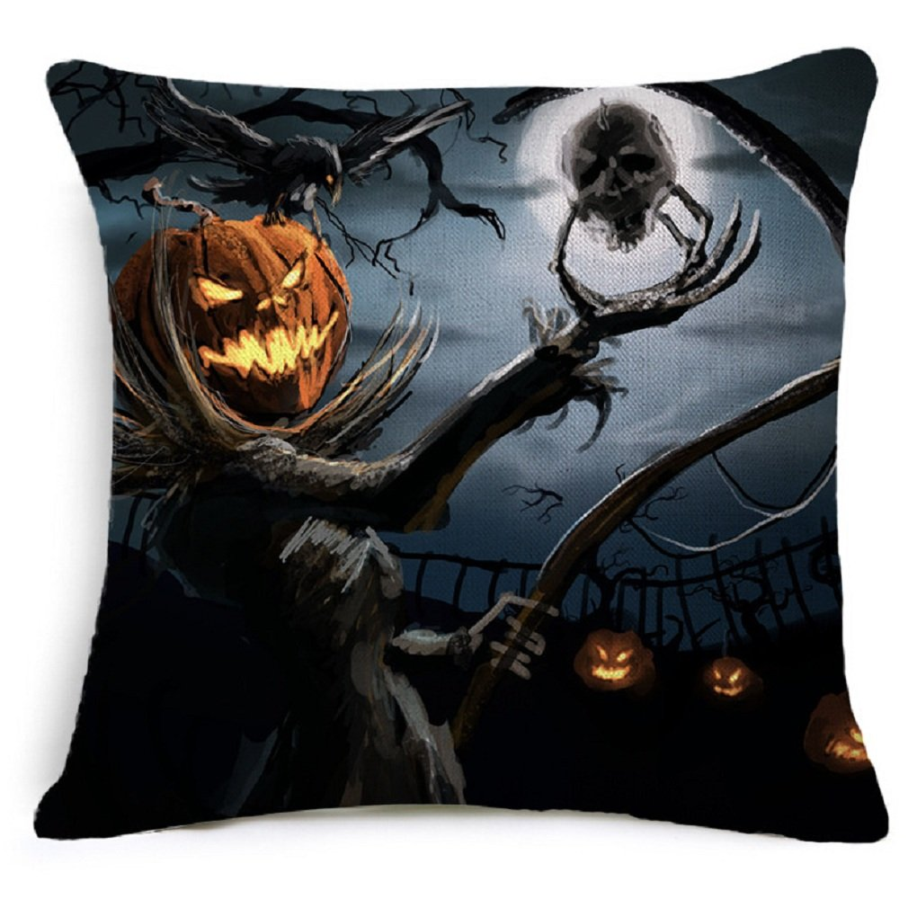 Decorative Square Throw Pillow Case Cushion Cover Bat Pumpkin Happy Halloween (4, B)