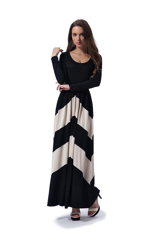 Charm Your Prince Women's Long Sleeve Chevron Empire Maxi Dress B&W Long-P