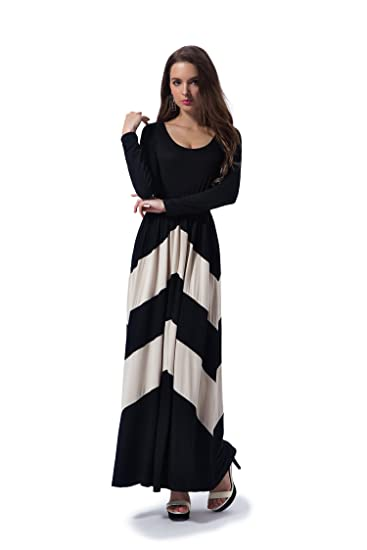 Charm Your Prince Womens Long Sleeve Regular Pe E Chevron Empire Maxi Dress At Amazon Womens Clothing Store