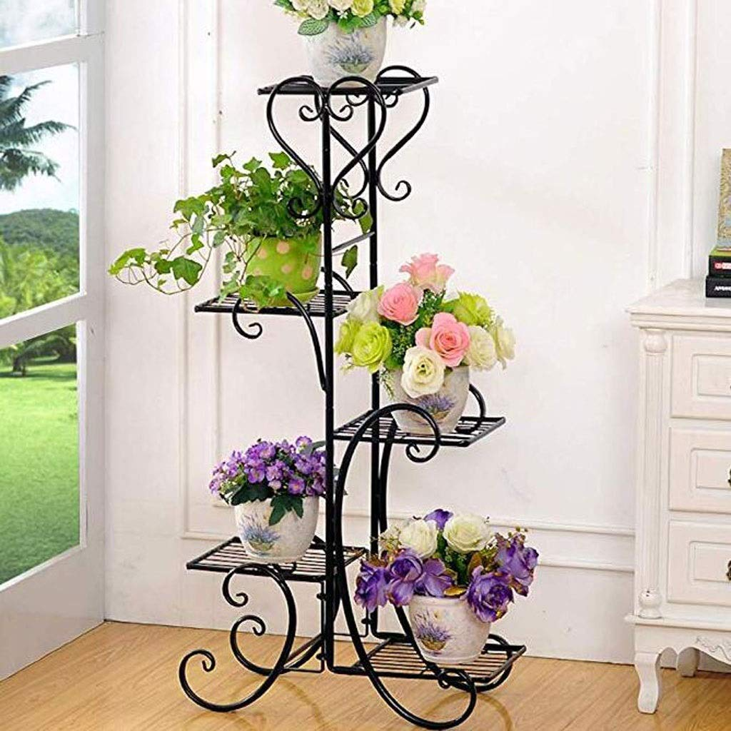 Plant Stand Metal Flower Holder Pot with 5 Tier Garden Decoration Display Wrought Iron 5 Layers Planter Rack Shelf Organizer for Garden Home Office Black (Size : 5 Layer) by Ganxie