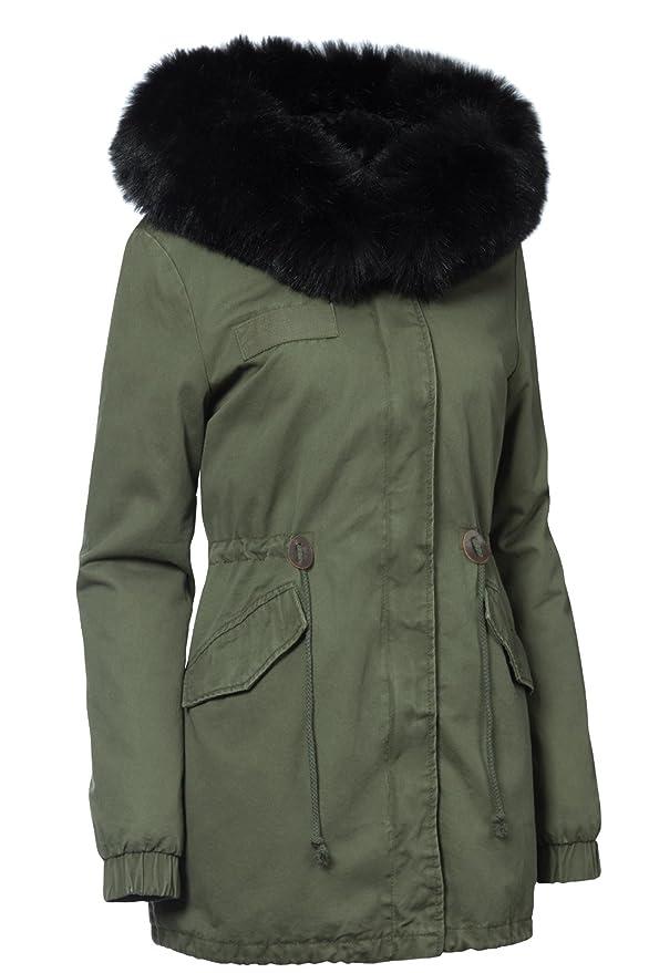 Trisens Damen Winter Jacke 3in1 Pelz Kapuze 100% Baumwolle