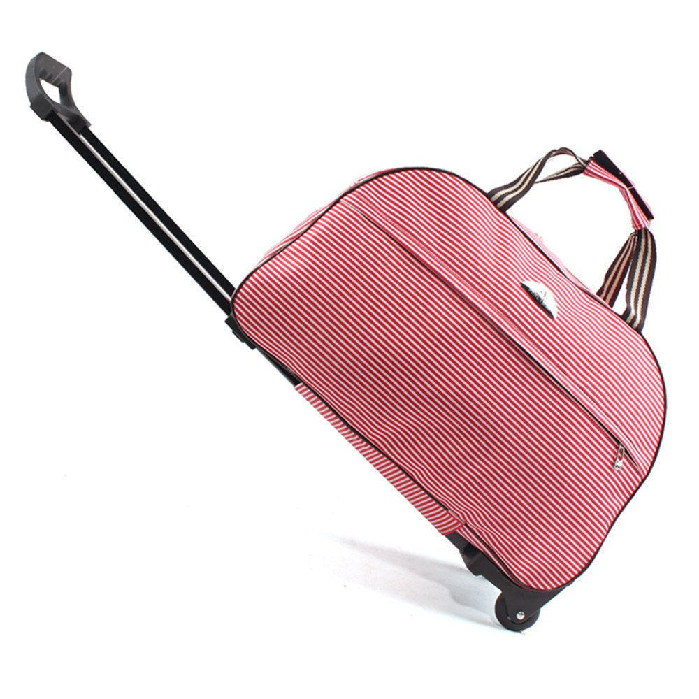 SENLI Red stripe Luggage 23 Inch Rolling Duffle trolley bag travel tote Carry-On