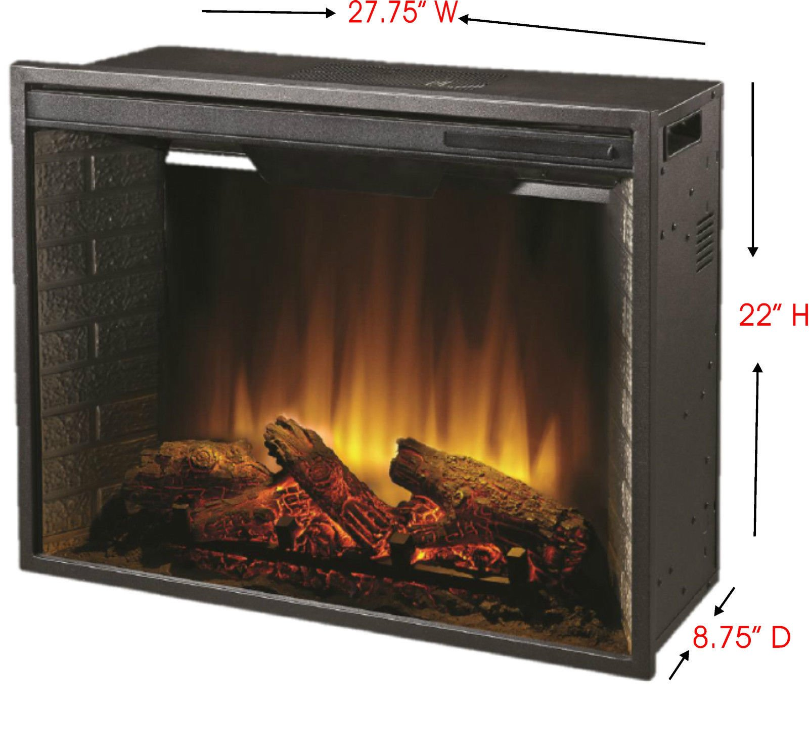Electric Firebox Insert - with Fan Heater and Glowing Logs for Fireplace