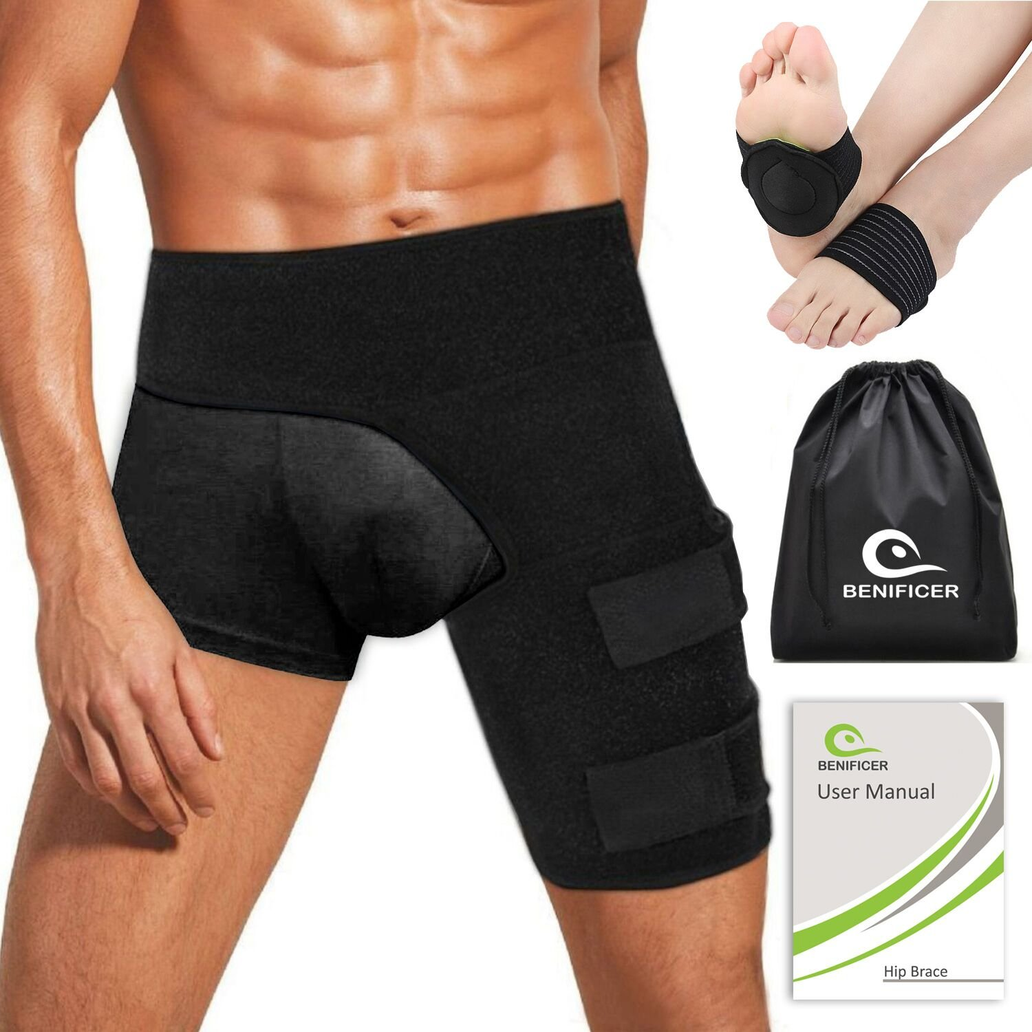 Benificer Hip Brace and Groin Support for Men Women Adjustable Hamstring Compression Sleeve Thigh Wrap Recover from Sciatica Arthritis Pulled Muscles Hip Flexor Joint Pain SI Belt with Foot Pads