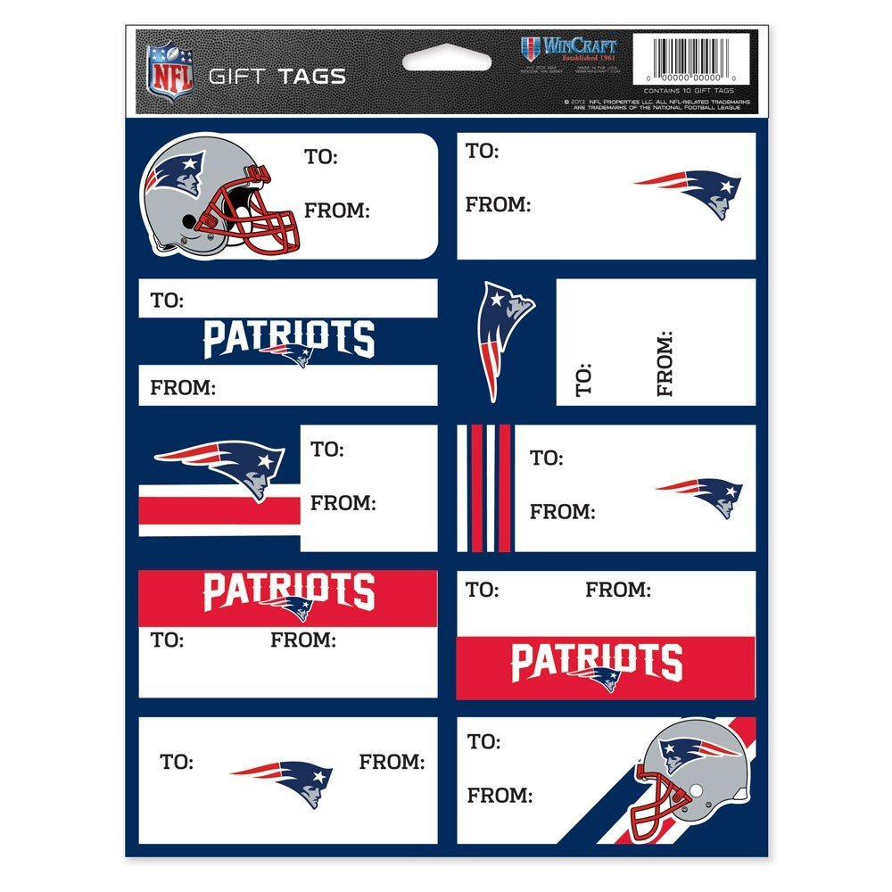 WinCraft NFL New England Patriots Gift Tag Sheet