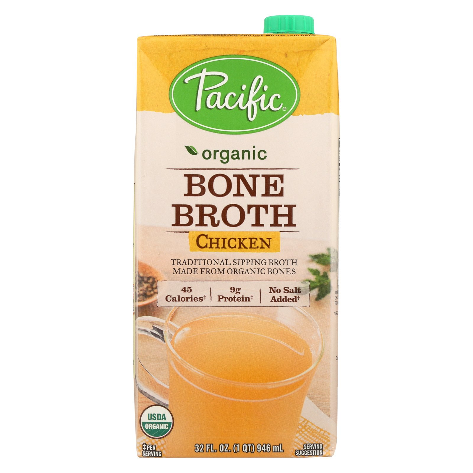 Pacific Natural Foods Bone Broth - Chicken - Case of 12 - 32 Fl oz. by Pacific Natural Foods