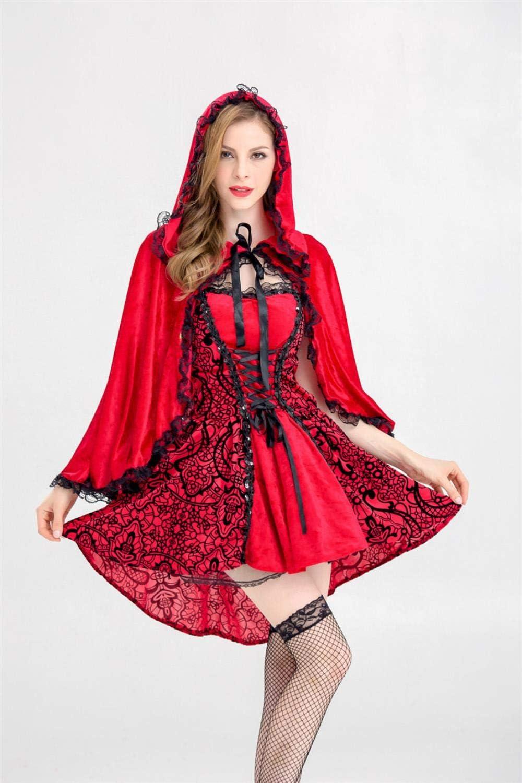 Kmjj Disfraz de Caperucita roja Sexy para Mujer Maquillaje de Libro de Cuento de Hadas de Halloween, M: Amazon.es: Hogar