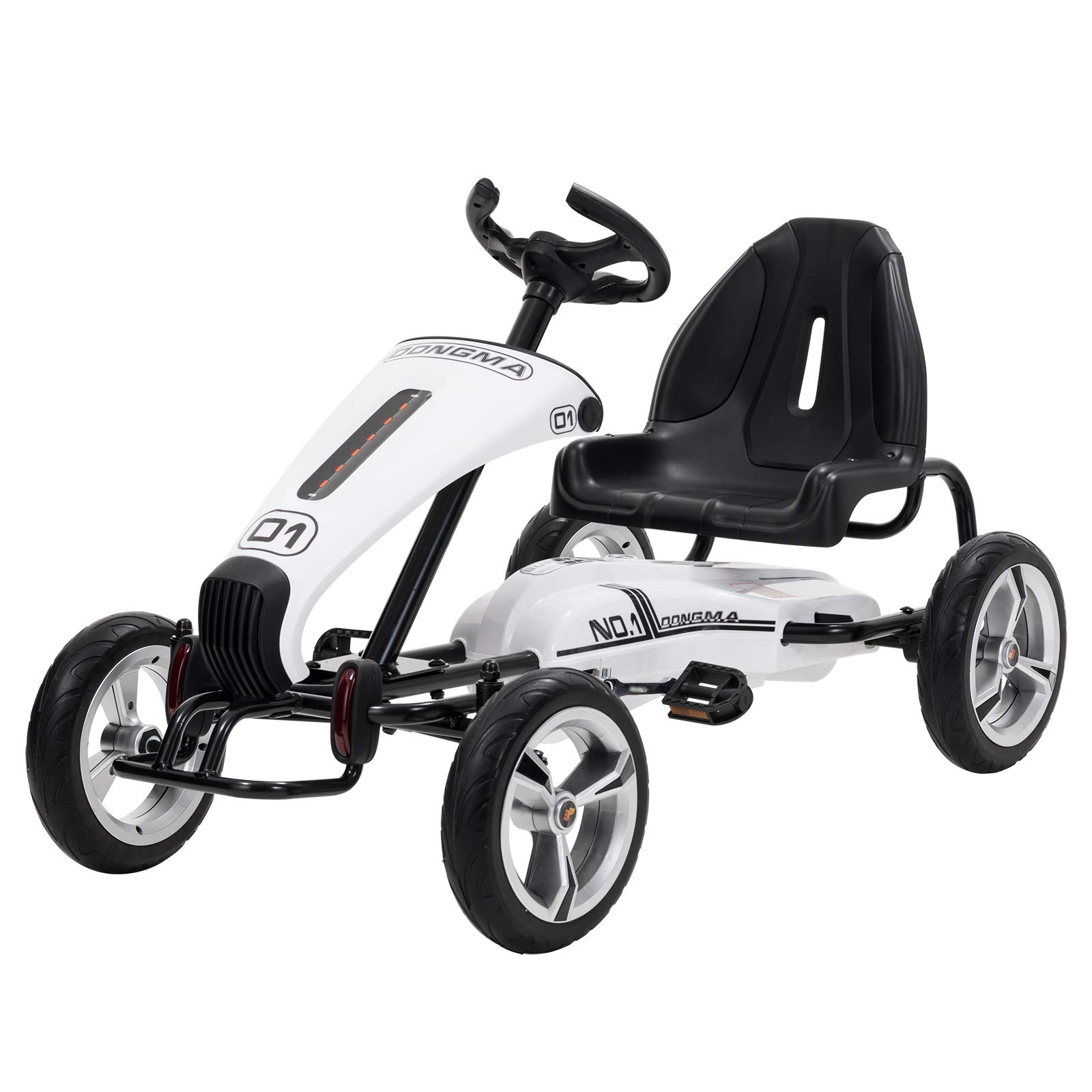 Uenjoy Pedal Go Kart Pedal Cars with Adjustable Seat, Sporty Steering Wheel, White