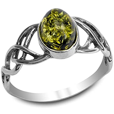 Green Amber Sterling Silver Celtic Ring 1ZLYsO9