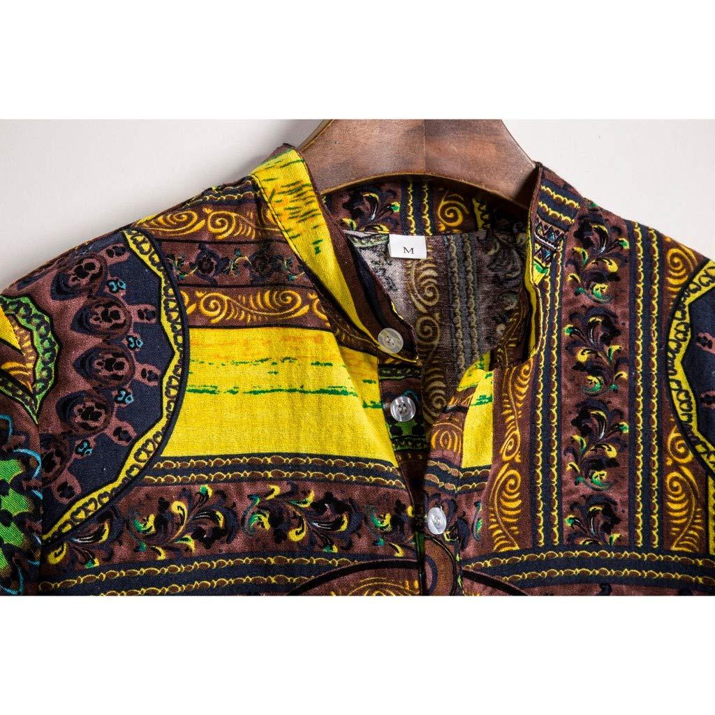 LOVELYOU Homme Chemise Ethnique Manche Courte D/écontract/é Lin Coton Impression Hawa/ïenne Blouse Hauts T-Shirt Chemisier