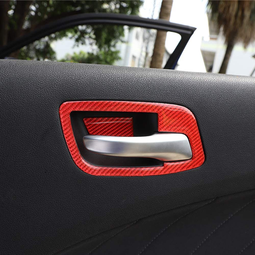 JeCar Inner Door Handle Bowl Trim ABS Decor Cover for 2011-2020 Dodge Charger Red Soft Carbon Fiber