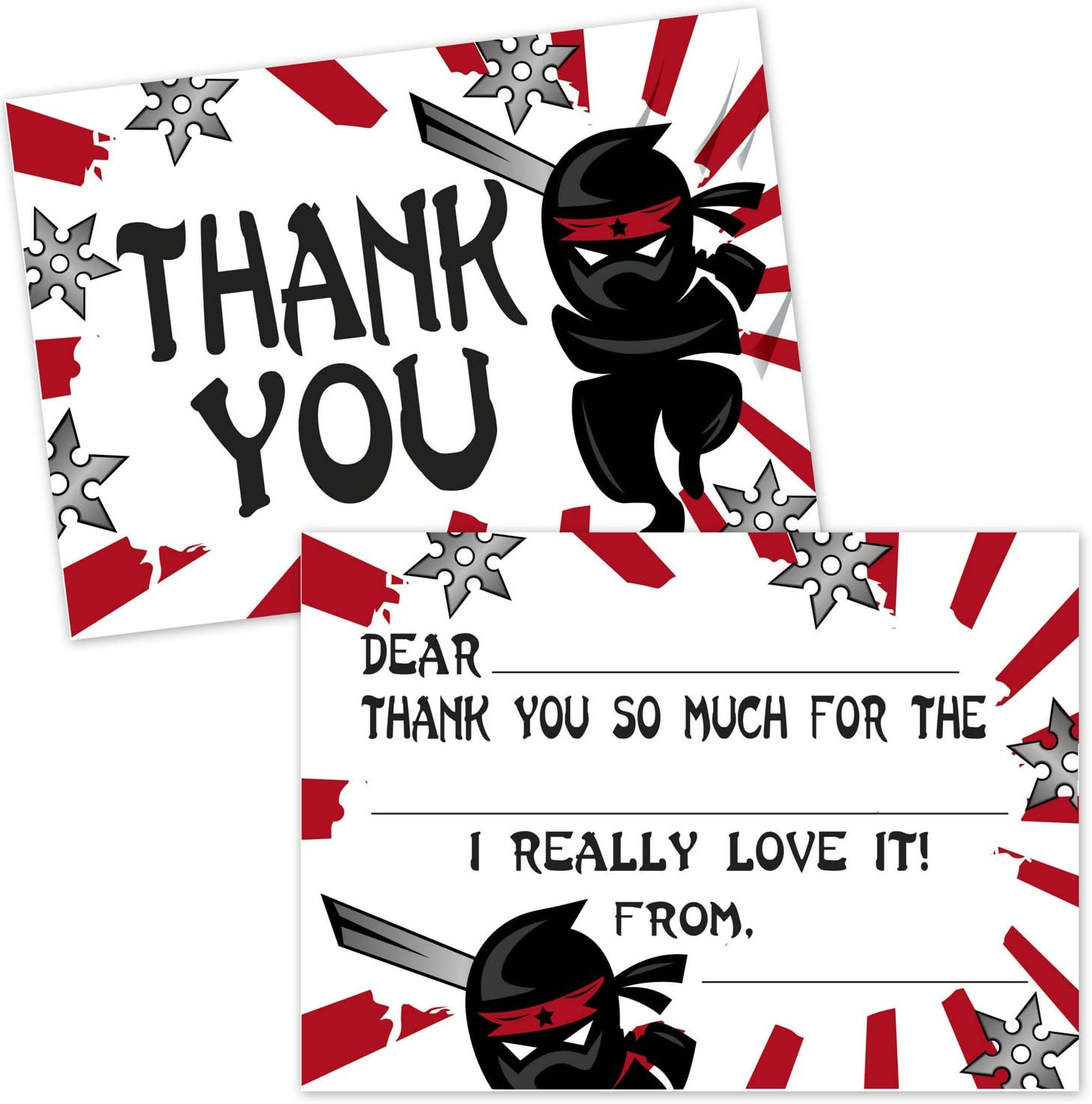 Ninja Samurai Fill in The Blank Thank You Cards for Kids - Boys Thank You Notes - Ninja Party Supplies