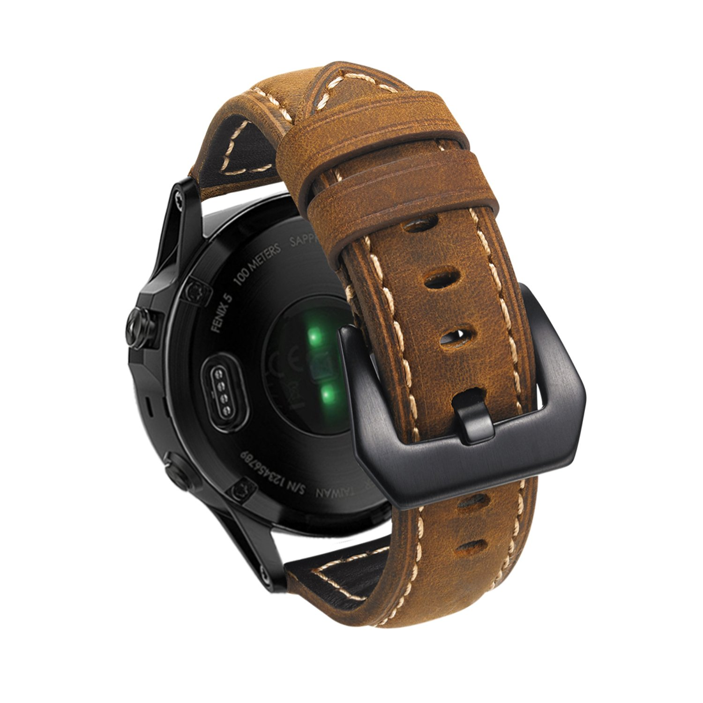 Garmin Fenix 5 Watch Band, Shangpule 22mm Genuine Leather Strap Replacement Smart Watch Wrist Band Bracelet for Garmin Fenix 5 / Forerunner 935 GPS Watch (Brown)