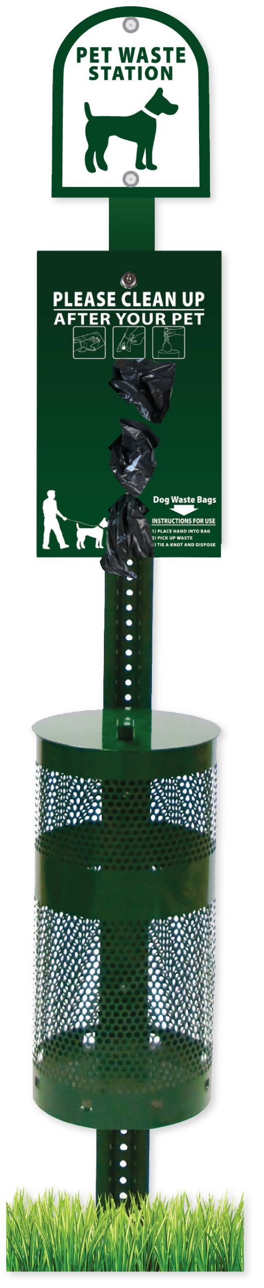 Zero Waste USA Dog Waste Station with ROLL BAG system