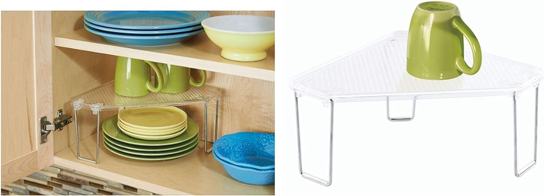 InterDesign Linus Kitchen Cabinet//Countertop Corner Storage Shelf Clear