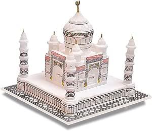 "Artist Haat Handmade Taj Mahal Replica with Colourful Painting (White with colourful painting, 9"" Inch.)"
