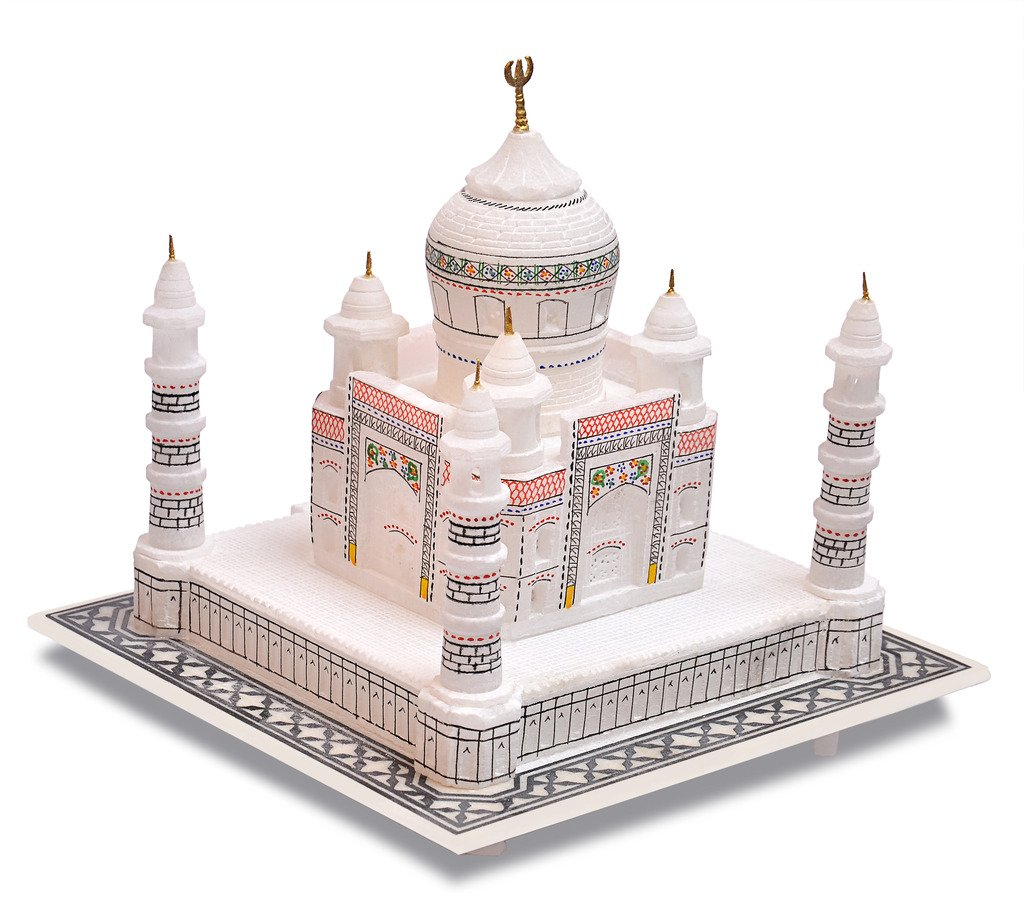 Artist Haat Handmade Taj Mahal Replica with Colourful Painting (White with colourful painting, 9'' Inch.)
