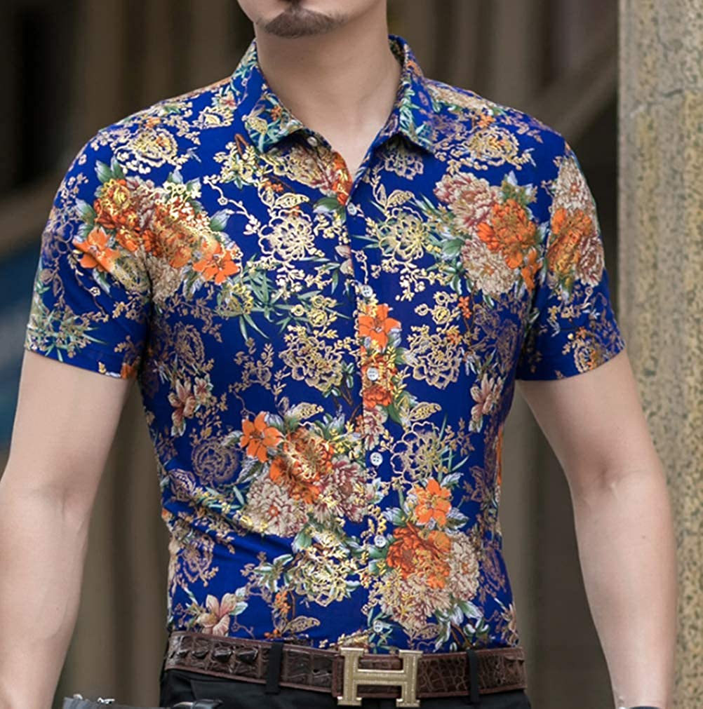 Mens Short Sleeve Summer Shirts 100/% Cotton Printed Casual Tops Designer S-2XL