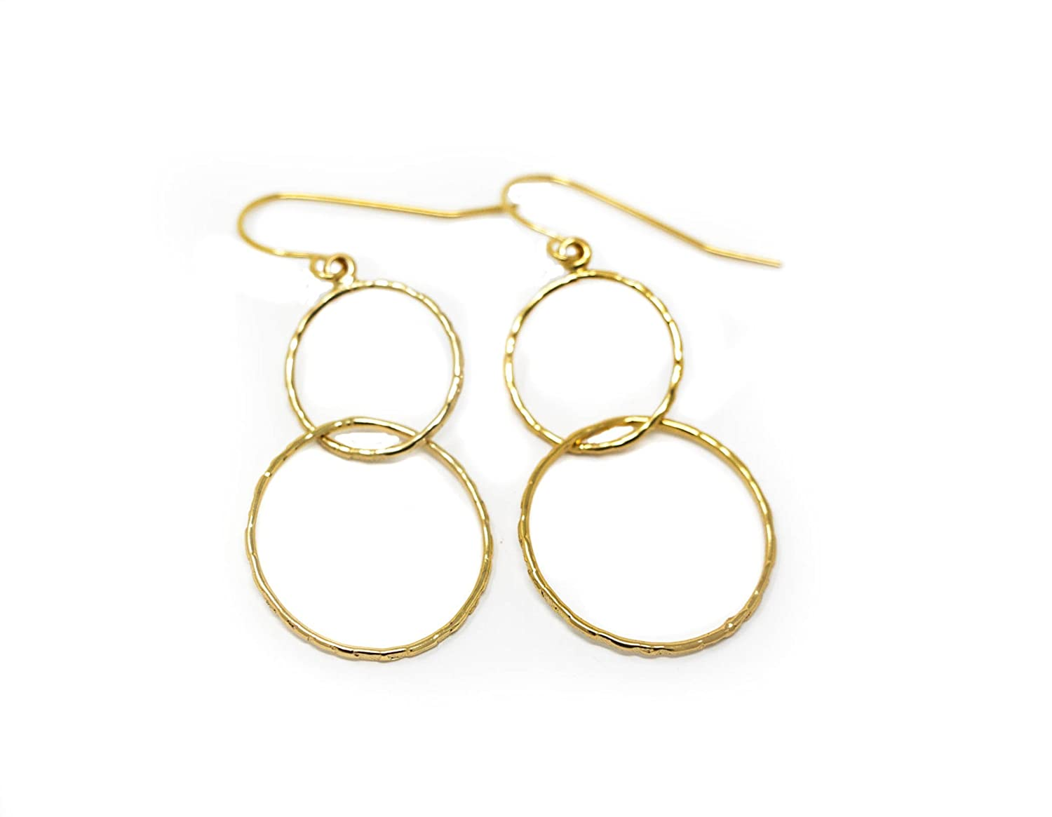 Simple Gold Plated Hoop Dangle Earrings