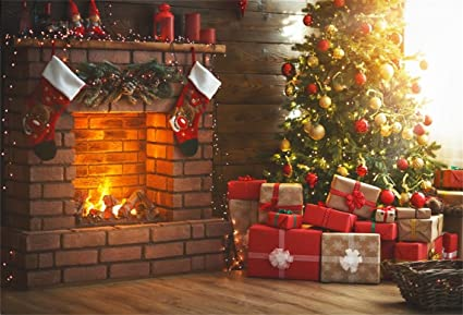 Christmas Living Room.Aofoto 8x6ft Christmas Living Room Interior Decoration Backdrop New Year Tree Fireplace Xmas Gift Box Photography Background Holiday Festive Party