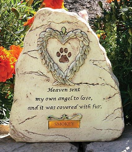Amazon pet memorial garden stone paw print with heart angel pet memorial garden stone paw print with heart angel wings design heaven sent my own workwithnaturefo