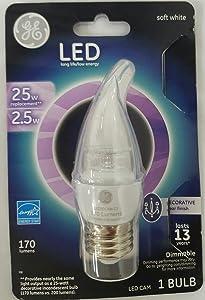 Ge Lighting 39699 LED 3DCAM-C3 Bent Tip Decorative for Chandeliers and Sconces 2.5 Watt (25 Watt Replacement) 170 Lumens Dimmable Medium Base
