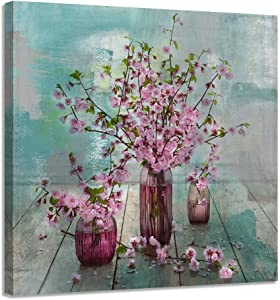 """Acocifi Pink Flowers Pictures Natural art Watercolor Painting Vintage Canvas Wooden Framed Wall Art Aqua Simple Artwork-14""""x14"""" for Living Room Office Home Bedroom Kitchen Dinning Room Decor One Panel, Gallery Wrapped"""