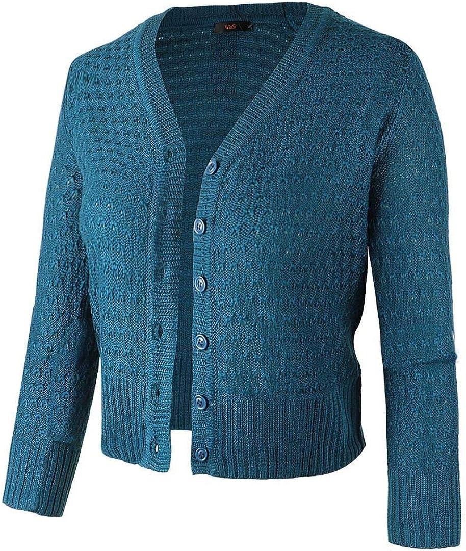 Women Button Down 34 Sleeve Knit Cropped Cardigans Crochet Sweater V Neck Ladies Short Bolero Cardigan (S XXL)