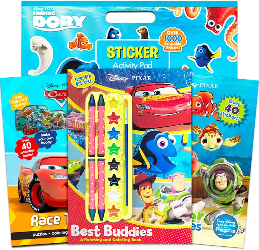 3 Book Super Set Finding Nemo and More Includes Over 1000 Stickers Disney Pixar Coloring Sticker Book Set Kids Toddlers ~ 3 Activity Books Featuring Disney Cars Toy Story