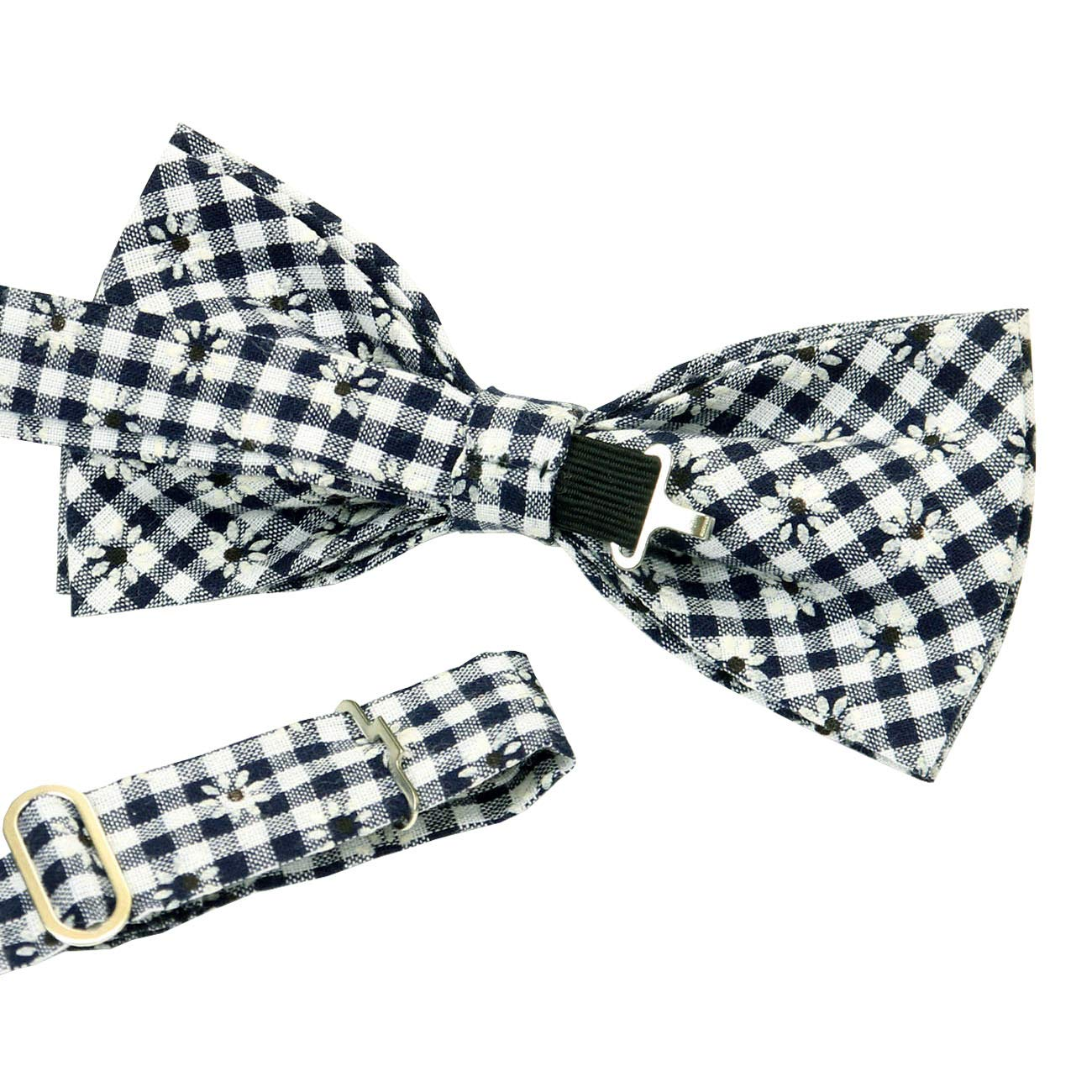 ST34 Brand New Navy blue and White Plaid Cotton Check Bow ties for Men B1615
