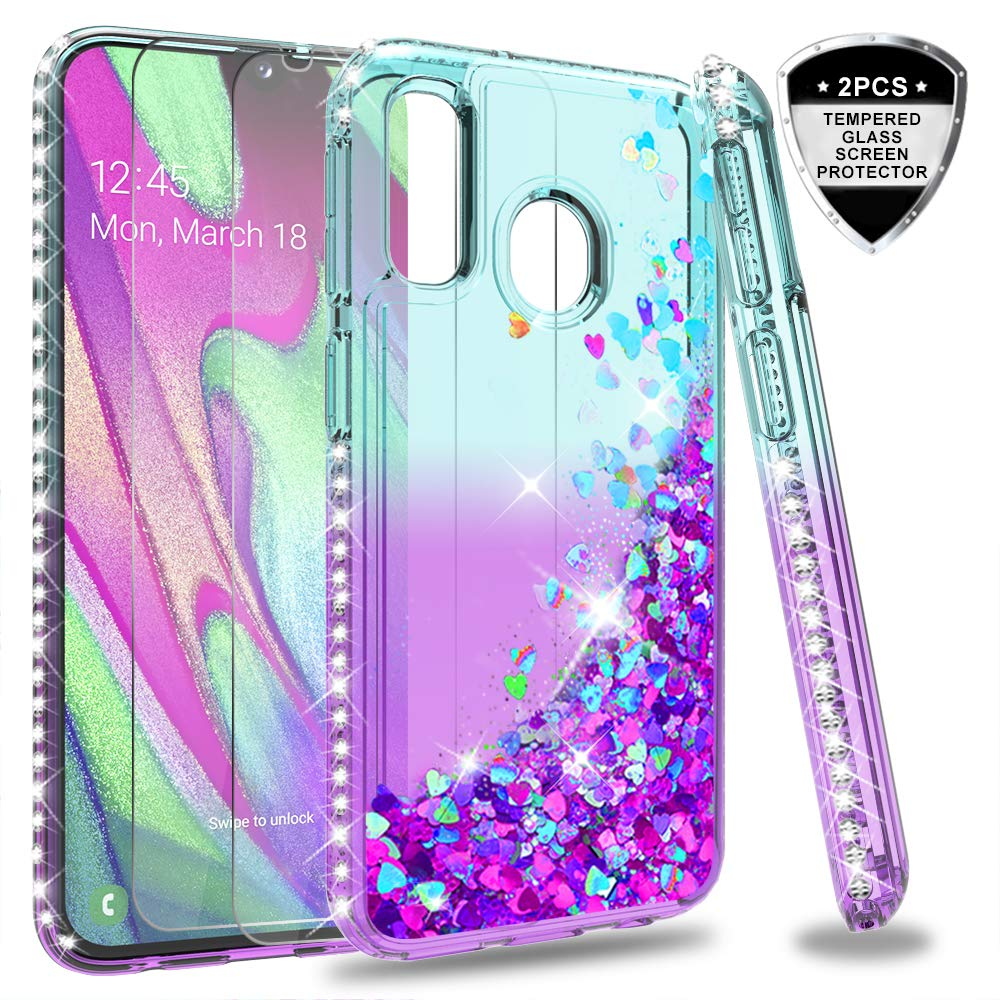 LeYi Galaxy A40 Case with Ring Holder Kickstand Full Body Protective Silicone TPU Personalised Shockproof Tough Armour Phone Cover with Screen Protector for Samsung Galaxy A40 Rose Gold