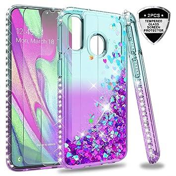 LeYi Funda Samsung Galaxy A40 Silicona Purpurina Carcasa con [2-Unidades Cristal Vidrio Templado], Transparente Cristal Bumper Gel TPU Fundas Case ...