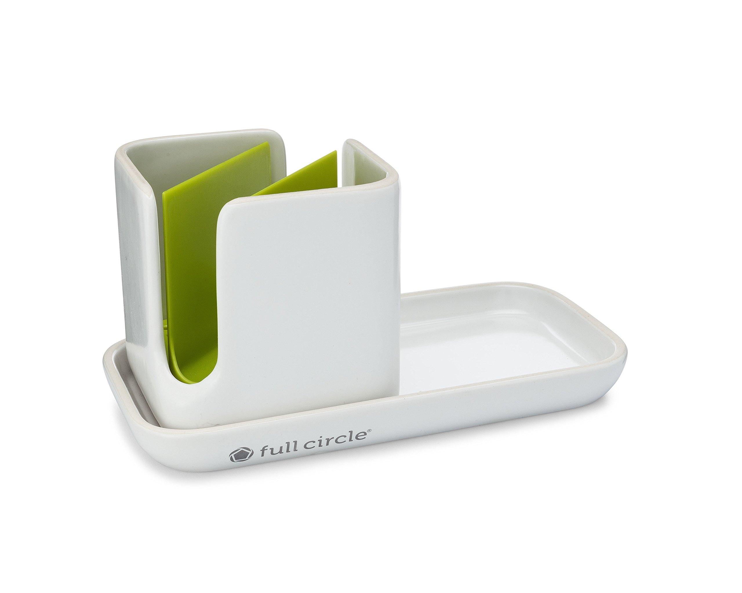 Full Circle Stash, Ceramic Sink Caddy, Green and White