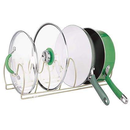 MetroDecor mDesign Soporte para sartenes, Tapas y cacerolas – Compacto Organizador de Tapas de ollas