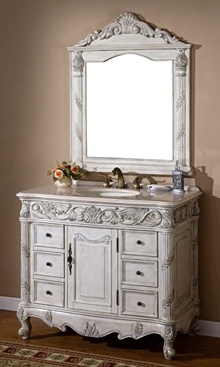 40-Inch Antique Style Single Sink Bathroom Vanity Set with Mirror Model  7640-C - 40-Inch Antique Style Single Sink Bathroom Vanity Set With Mirror