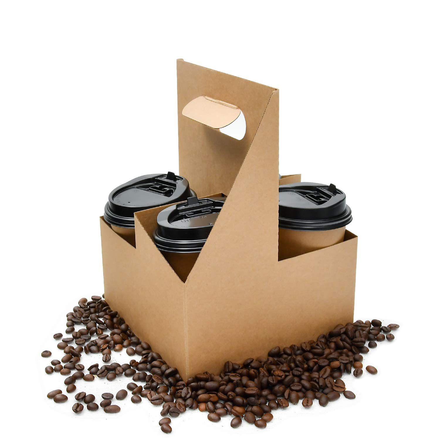[25 Pack] Disposable Drink Carrier with Handle, Coffee to Go Carrier, Drink Takeout Holder, Holds up to 4 Cups of 20 oz. Made of Corrugated paper, Great Holding Capacity (4 Cups)