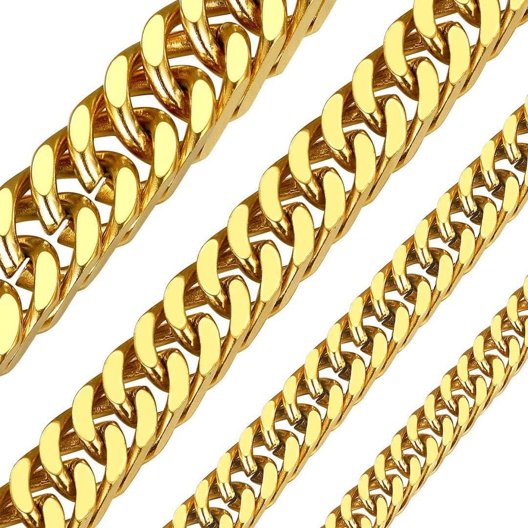 ChainsHouse Resistente Cadena Acero Cubana Hombre 5/7/10/13mm Ancho 46cm - 76cm Cadenas Cuadradas [Platino/Dorado/Negro]