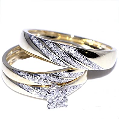 Amazoncom His and Her Trio Wedding Rings Set 13cttw 10K Yellow