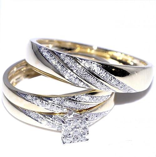 Su y su Trio juego de anillos de boda 1/3cttw 10 K oro amarillo