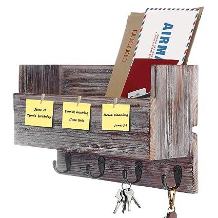 Halcent Revistero Pared Madera Cuelga Llaves Revistero Madera Buzones de Pared Estanteria Colgador Llaves para Entrada Casa Oficina