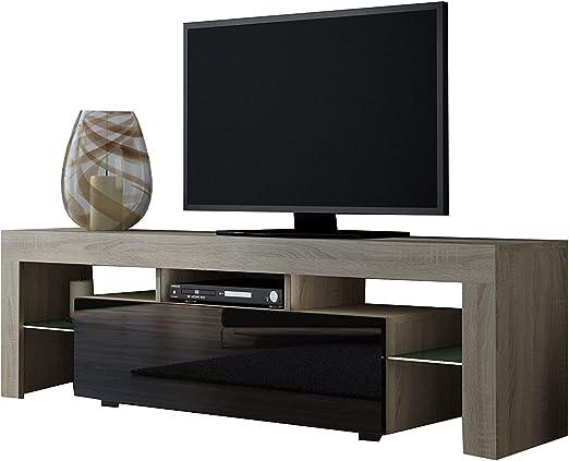 Concept Muebles Muebles Mueble de TV Milano 160 Sonoma de Roble/Moderno Mueble de TV LED/Mueble de salón/TV Consola para TV de hasta 70