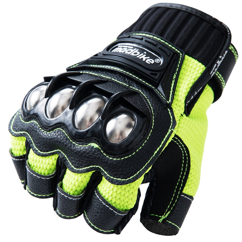 Motorcycle Fingerless Gloves,Dirt Bike Motocross Motorbike Power Sports Racing Gloves Steel Reinforced Knuckle (Green,L)