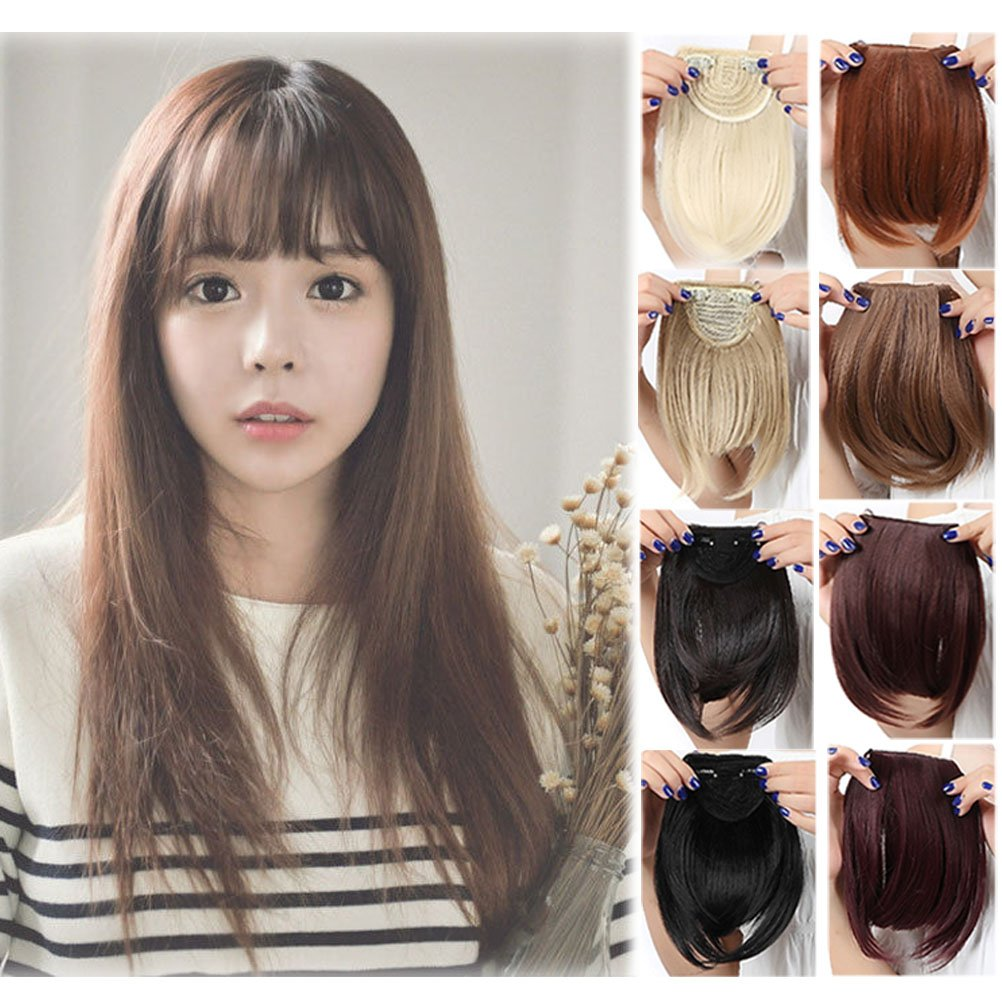 Clip in Bangs Extensions One Piece Crown Hairpiece Full Neat Fringe 9