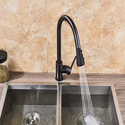 Super Brushed Nickel Mixer Faucet Single Hole Pull Out Spout Download Free Architecture Designs Sospemadebymaigaardcom