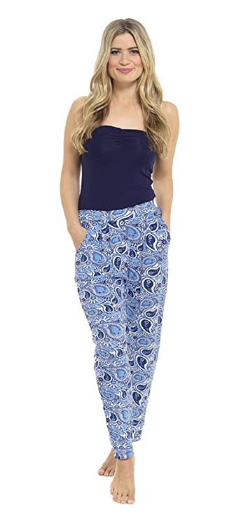 Womens Ladies printed jersey harem pants trousers: Amazon.co.uk: Clothing