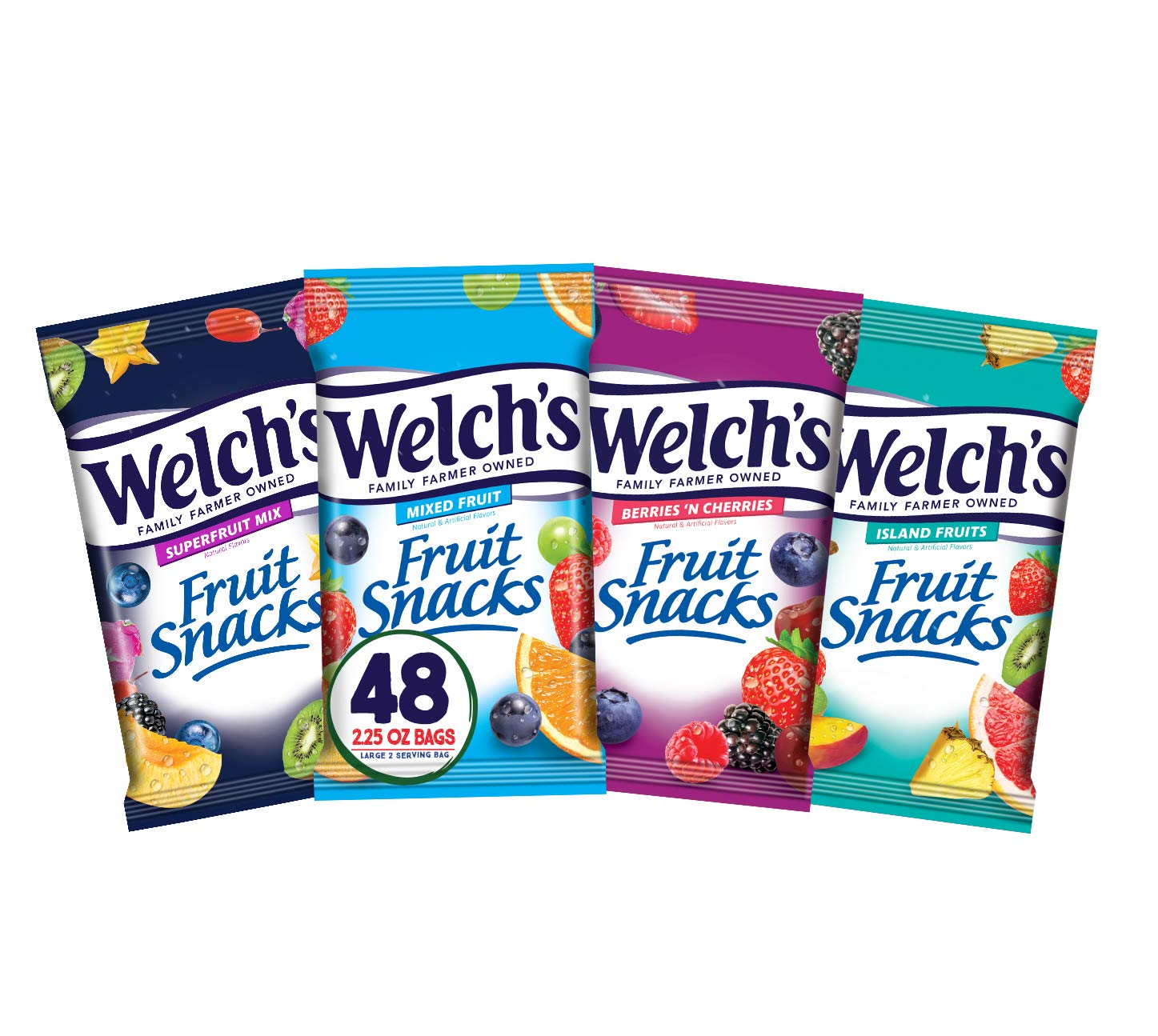 Welch's Fruit Snacks, Bulk Variety Pack with Mixed Fruit, Superfruit Mix, Island Fruits & Berries 'n Cherries, Gluten Free, Bulk Pack, 2.25 oz(Pack of 48)