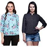 Mallory Winston Light Blue Floral & Black Checkerd Women's Balloon Top